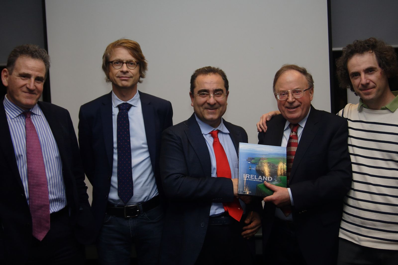 Jim with Prof Nicola Scafetta (centre) and European colleagues at the ICSF lecture in February 2018